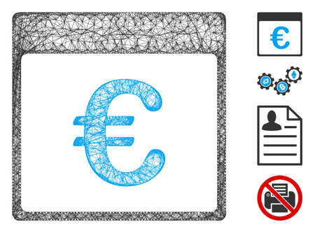 Mesh Euro currency calendar page web icon vector illustration. Model is based on Euro currency calendar page flat icon. Mesh forms abstract Euro currency calendar page flat model. Иллюстрация