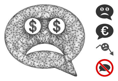Mesh bankrupt smiley message web icon vector illustration. Model is based on bankrupt smiley message flat icon. Network forms abstract bankrupt smiley message flat model.