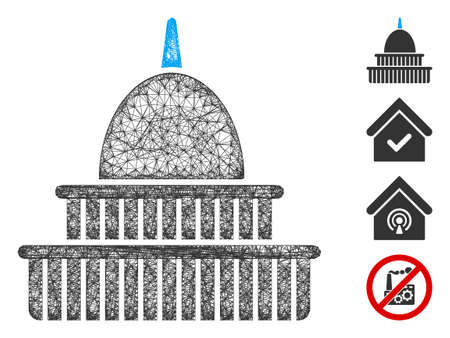 Mesh government building web icon vector illustration. Abstraction is based on government building flat icon. Mesh forms abstract government building flat carcass.