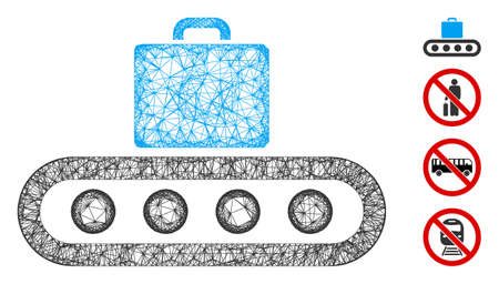 Mesh luggage conveyor web icon vector illustration. Carcass model is based on luggage conveyor flat icon. Mesh forms abstract luggage conveyor flat carcass. Иллюстрация
