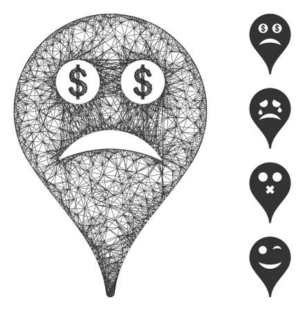 Mesh bankrupt smiley map marker web icon vector illustration. Model is based on bankrupt smiley map marker flat icon. Network forms abstract bankrupt smiley map marker flat model. Фото со стока - 147390581
