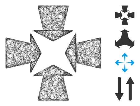 Mesh shrink arrows web symbol vector illustration. Carcass model is based on shrink arrows flat icon. Mesh forms abstract shrink arrows flat carcass.