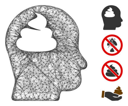 Mesh shit brain web 2d vector illustration. Model is based on shit brain flat icon. Network forms abstract shit brain flat model. wireframe flat web network isolated on a white background.