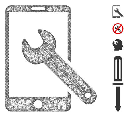 Mesh smartphone setup wrench web icon vector illustration. Carcass model is based on smartphone setup wrench flat icon. Net forms abstract smartphone setup wrench flat carcass.