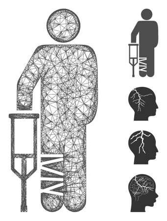 Mesh broken leg patient web icon vector illustration. Carcass model is based on broken leg patient flat icon. Net forms abstract broken leg patient flat model. Иллюстрация