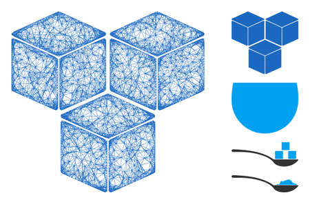 Mesh sugar cubes web icon vector illustration. Carcass model is based on sugar cubes flat icon. Network forms abstract sugar cubes flat carcass. Illusztráció