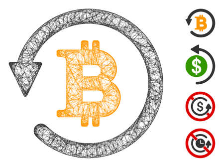 Mesh Bitcoin chargeback web icon vector illustration. Carcass model is based on Bitcoin chargeback flat icon. Network forms abstract Bitcoin chargeback flat carcass.