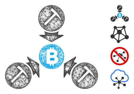 Mesh Bitcoin mining pool web icon vector illustration. Carcass model is based on Bitcoin mining pool flat icon. Network forms abstract Bitcoin mining pool flat carcass.
