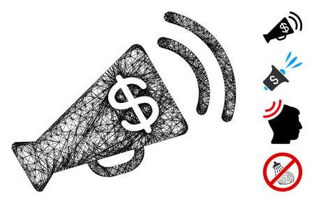 Mesh ads megaphone budget web 2d vector illustration. Model is based on ads megaphone budget flat icon. Mesh forms abstract ads megaphone budget flat model. Иллюстрация