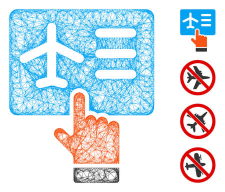 Mesh airline ticket booking web icon vector illustration. Carcass model is based on airline ticket booking flat icon. Mesh forms abstract airline ticket booking flat carcass.