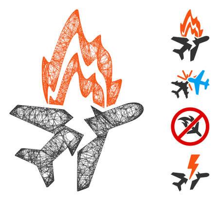 Mesh airplane burn web symbol vector illustration. Carcass model is based on airplane burn flat icon. Mesh forms abstract airplane burn flat carcass. Иллюстрация