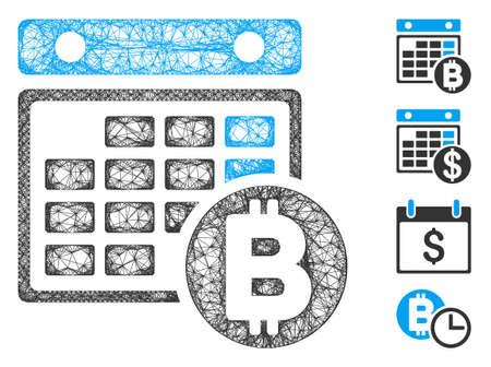 Mesh Bitcoin calendar web 2d vector illustration. Abstraction is based on Bitcoin calendar flat icon. Mesh forms abstract Bitcoin calendar flat model. Иллюстрация