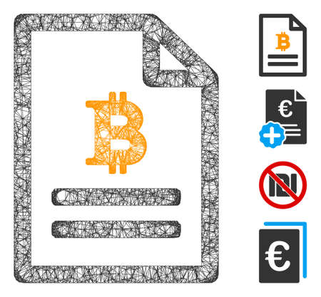 Mesh Bitcoin price page web 2d vector illustration. Carcass model is based on Bitcoin price page flat icon. Network forms abstract Bitcoin price page flat carcass.