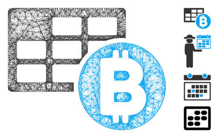 Mesh Bitcoin table web icon vector illustration. Carcass model is based on Bitcoin table flat icon. Network forms abstract Bitcoin table flat carcass.