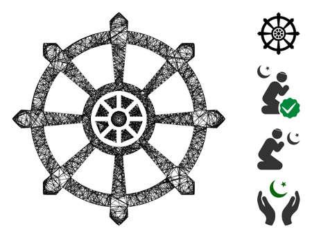 Mesh dharma wheel web icon vector illustration. Carcass model is created from dharma wheel flat icon. Net forms abstract dharma wheel flat model. Иллюстрация