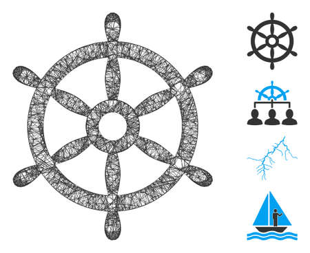 Mesh boat steering wheel web symbol vector illustration. Carcass model is based on boat steering wheel flat icon. Network forms abstract boat steering wheel flat model.