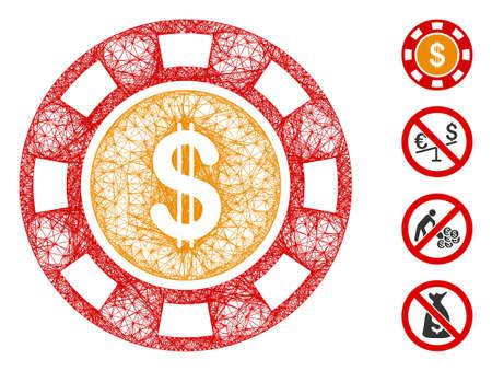 Mesh dollar casino chip web symbol vector illustration. Carcass model is based on dollar casino chip flat icon. Mesh forms abstract dollar casino chip flat model. Иллюстрация