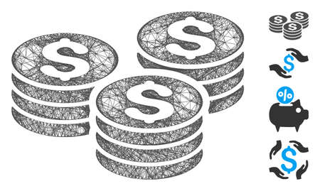 Mesh dollar coin stacks web 2d vector illustration. Carcass model is based on dollar coin stacks flat icon. Network forms abstract dollar coin stacks flat carcass.