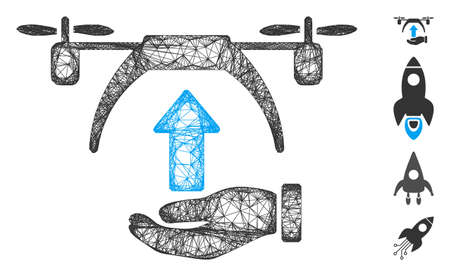 Mesh drone takeoff web 2d vector illustration. Model is based on drone takeoff flat icon. Net forms abstract drone takeoff flat model. wireframe flat web network isolated on a white background. Иллюстрация