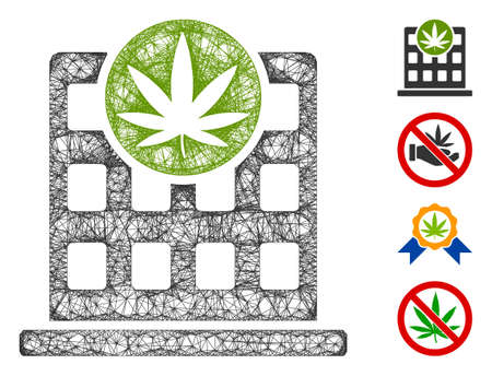 Mesh cannabis building web icon vector illustration. Carcass model is based on cannabis building flat icon. Network forms abstract cannabis building flat carcass.