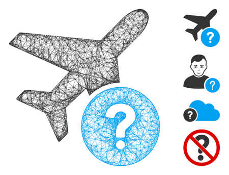 Mesh airplane status web icon vector illustration. Model is based on airplane status flat icon. Mesh forms abstract airplane status flat model. wireframe 2D web network isolated on a white background. Иллюстрация