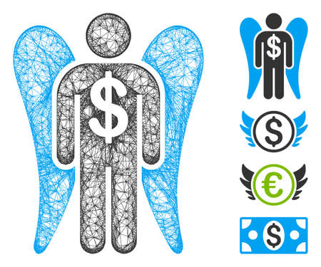 Mesh angel investor web icon vector illustration. Model is created from angel investor flat icon. Network forms abstract angel investor flat carcass.
