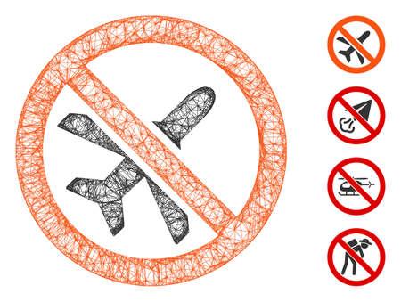 Mesh forbidden airplane web icon vector illustration. Abstraction is based on forbidden airplane flat icon. Network forms abstract forbidden airplane flat model. Иллюстрация