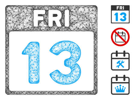 Mesh 13 Friday calendar page web symbol vector illustration. Model is based on 13 Friday calendar page flat icon. Network forms abstract 13 Friday calendar page flat carcass.