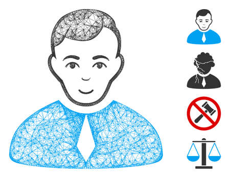 Mesh lawyer web icon vector illustration. Model is based on lawyer flat icon. Network forms abstract lawyer flat model. Wire frame 2D web network isolated on a white background. Bonus icons are added.