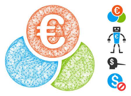 Mesh euro finances web icon vector illustration. Carcass model is based on euro finances flat icon. Net forms abstract euro finances flat carcass.