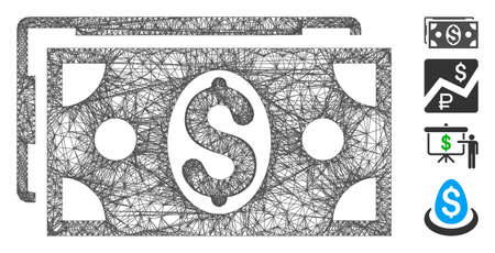 Mesh dollar banknotes web 2d vector illustration. Carcass model is based on dollar banknotes flat icon. Mesh forms abstract dollar banknotes flat model.
