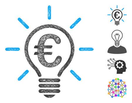 Mesh Euro idea bulb web symbol vector illustration. Carcass model is based on Euro idea bulb flat icon. Network forms abstract Euro idea bulb flat carcass.