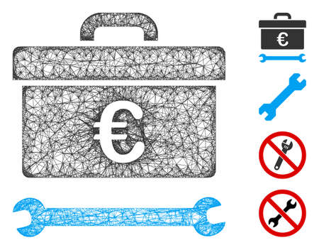 Mesh Euro toolbox web 2d vector illustration. Carcass model is based on Euro toolbox flat icon. Mesh forms abstract Euro toolbox flat carcass. Wire frame 2D web network isolated on a white background.