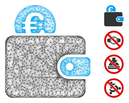Mesh Euro wallet web icon vector illustration. Carcass model is based on Euro wallet flat icon. Network forms abstract Euro wallet flat carcass. Иллюстрация