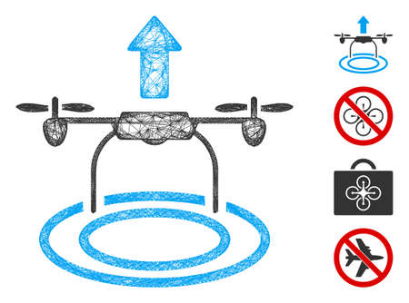 Mesh start drone web icon vector illustration. Abstraction is based on start drone flat icon. Network forms abstract start drone flat carcass.