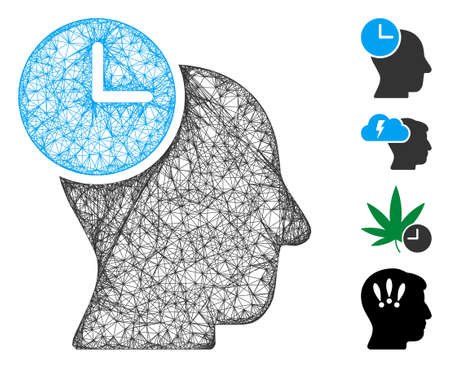Mesh time thinking web 2d vector illustration. Model is based on time thinking flat icon. Network forms abstract time thinking flat model. Wire frame flat web network isolated on a white background.