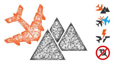 Mesh piramides airplane crash web 2d vector illustration. Abstraction is based on piramides airplane crash flat icon. Net forms abstract piramides airplane crash flat model.