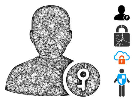 Mesh user key web icon vector illustration. Abstraction is based on user key flat icon. Mesh forms abstract user key flat model. wireframe flat web network isolated on a white background.