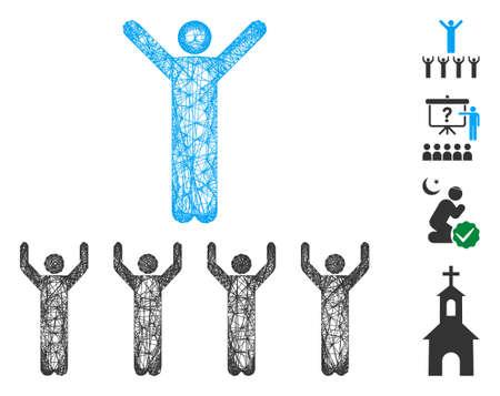 Mesh religion guru web icon vector illustration. Carcass model is based on religion guru flat icon. Net forms abstract religion guru flat model. Ilustração
