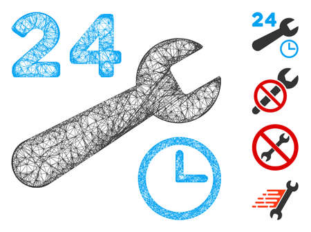 Mesh service hours web symbol vector illustration. Model is based on service hours flat icon. Mesh forms abstract service hours flat model. Wire frame flat web network isolated on a white background.