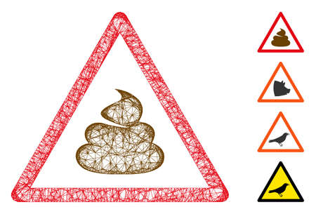 Mesh shit warning web icon vector illustration. Carcass model is based on shit warning flat icon. Network forms abstract shit warning flat carcass.