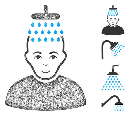 Mesh head shower web icon vector illustration. Abstraction is based on head shower flat icon. Mesh forms abstract head shower flat model. wireframe flat web network isolated on a white background.