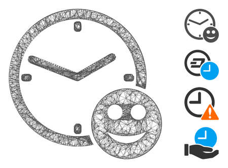 Mesh smile credit time web 2d vector illustration. Carcass model is based on smile credit time flat icon. Network forms abstract smile credit time flat carcass.