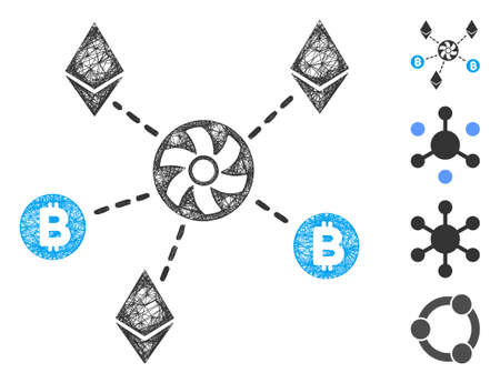 Mesh cryptocurrency blender rotor web 2d vector illustration. Model is based on cryptocurrency blender rotor flat icon. Net forms abstract cryptocurrency blender rotor flat model. Ilustração