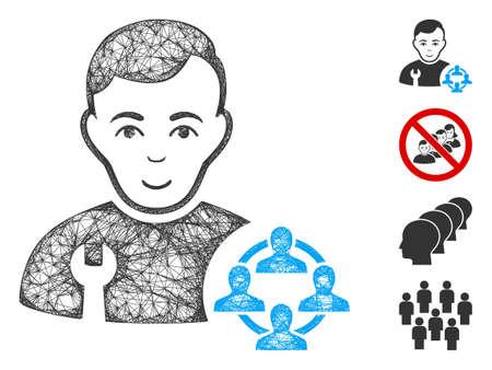 Mesh social engineer web icon vector illustration. Carcass model is based on social engineer flat icon. Mesh forms abstract social engineer flat model.