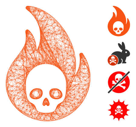 Mesh hellfire web icon vector illustration. Carcass model is created from hellfire flat icon. Mesh forms abstract hellfire flat carcass. Wire frame flat web network isolated on a white background. Ilustração Vetorial