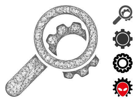Mesh view configuration gear web icon vector illustration. Carcass model is based on view configuration gear flat icon. Network forms abstract view configuration gear flat carcass.