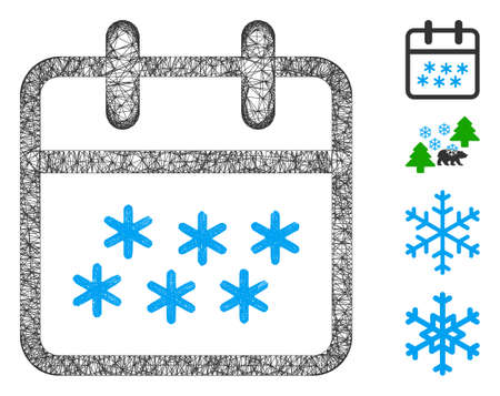 Mesh winter day web 2d vector illustration. Carcass model is based on winter day flat icon. Mesh forms abstract winter day flat model. wireframe flat web network isolated on a white background. Illustration