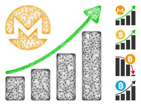 Mesh Monero growing graph trend web 2d vector illustration. Model is based on Monero growing graph trend flat icon. Network forms abstract Monero growing graph trend flat model. Иллюстрация