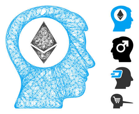 Mesh Ethereum mind web icon vector illustration. Carcass model is created from Ethereum mind flat icon. Network forms abstract Ethereum mind flat model.